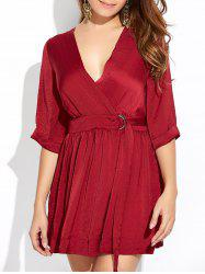 Wrap Ruched A-Line Dress