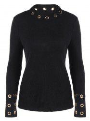 Ribbed Knitwear with Eyelet Embellished - BLACK