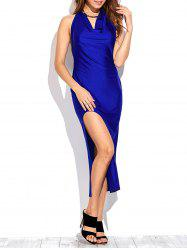 Draped Front Thigh Split Prom Dress -
