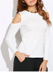 Cold Shoulder Ribbed Top -