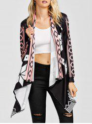 Asymmetrical Geometrical Long Sleeve Kimono Open Cardigan