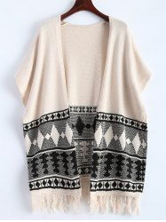 Batwing Sleeve Fringe Graphic Open Cardigan -