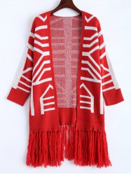 Fringe Graphic Open Long Cardigan