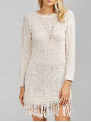Side Slit Fringe Chandail Long - Blanc Cassé Taille Unique