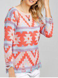 Colorful Geometrical Pullover Sweater -