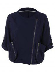 Zip Up Loose Cropped Blouse
