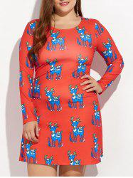 Christmas Plus Size Ornate Reindeer Print Dress
