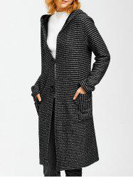 Hooded Striped Pocket Wrap Coat -