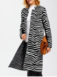 Zebra Striped Pocket Slit Coat