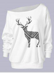 Plus Size Fawn Print Skew Collar Sweatshirt - WHITE