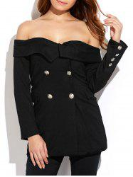 Double Breasted Off Shoulder Blazer -