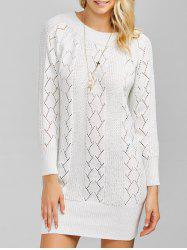 Raglan Sleeve Crew Neck Knitted Jumper Dress - WHITE ONE SIZE