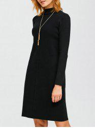 Knee Length Mock Neck Sweater Dress - BLACK ONE SIZE