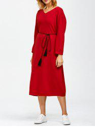 V Neck Shift Midi Jumper Dress