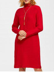Knee Length Mock Neck Slit Knit Dress