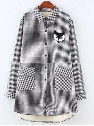 Plus Size Plaid Fox Appliques Fleece Shirt