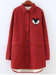 Plus Size Fleece Fox Appliques Plaid Shirt
