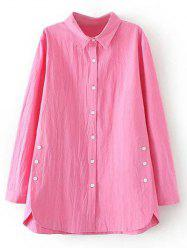 Plus Size Button Decorated Linen Shirt