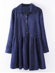 Plus Size Polka Dot Print Shirt Dress
