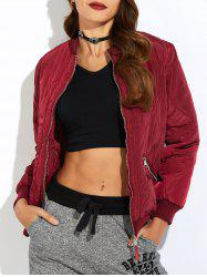 Padded Bomber Zip Up Jacket - WINE RED M