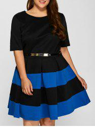 Plus Size Belted Striped Pleated Skater Dress