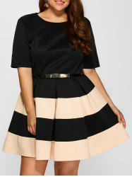 Plus Size Belted Striped Pleated Skater Dress - APRICOT