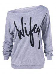 Skew Collar Graphic Print Sweatshirt -