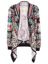 Plus Size Contrast Trim Tribal Cardigan - COLORMIX