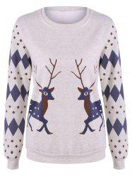 Rhombus and Deer Print Flocking Sweatshirt