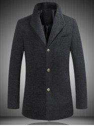 Stand Collar Single Breasted Woolen Coat - BLACK 5XL