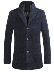 Stand Collar Single Breasted Woolen Coat -