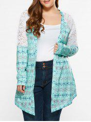 Plus Size Lace Trim Tribal Cardigan -