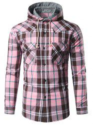 Chest Pocket Button Up Hooded Plaid Shirt -