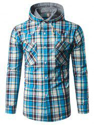 Chest Pocket Button Up Hooded Plaid Shirt