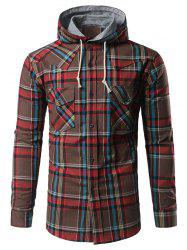 Chest Pocket Button Up Hooded Plaid Shirt - COFFEE