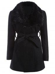 Plus Size Faux Fur Belted Woolen Coat - BLACK