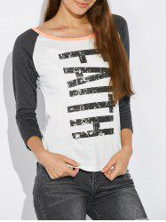 Raglan Sleeve Faith Pattern T-Shirt