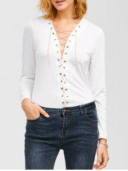 Criss Cross Chain Plunging T-Shirt