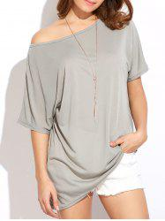 Casual Oversized Skew Neck Irregular T-Shirt