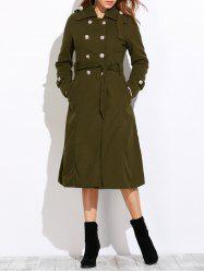 Belted Double Breasted Long Coat - ARMY GREEN