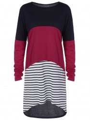 Color Block Long Sleeve Striped T-Shirt High Low Dress