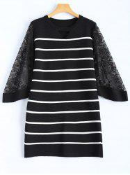 Slim Lace Insert Striped Dress -