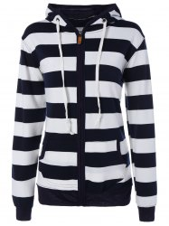 Wide Striped Zipper Drawstring Hoodie