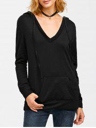 Big Pocket V Neck Drawstring Hoodie