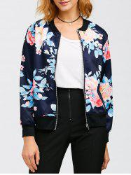 Flourishing Flowers Bomber Jacket - PURPLISH BLUE XL