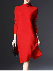 Knitted Long Sleeve Longline Jumper Dress