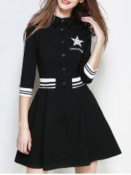 Star A Line Graphic Casual Dress -