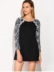Lace Panel Long Sleeve Dress