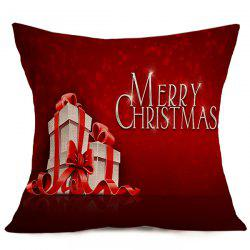 Merry Christmas Gift Linen Seat Cushion Pillow Case - DEEP RED