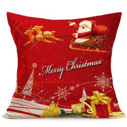 Merry Christmas Santa Linen Seat Cushion Pillow Cover - RED